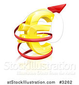 Vector Illustration of a 3d Increase Spiraling Red Arrow Around a Golden Euro Currency Symbol by AtStockIllustration