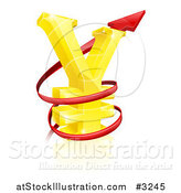 Vector Illustration of a 3d Increase Spiraling Red Arrow Around a Golden Yen Currency Symbol by AtStockIllustration