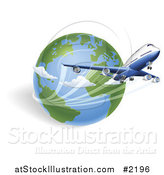 Vector Illustration of a 3d Internal Flight and Globe by AtStockIllustration
