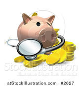 Vector Illustration of a 3d Investment Piggy Bank with a Stethoscope and Coins by AtStockIllustration