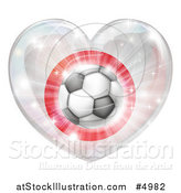 Vector Illustration of a 3d Japanese Flag Heart and Soccer Ball by AtStockIllustration