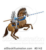 Vector Illustration of a 3d Jousting Knight Holding a Lance on a Rearing Horse by AtStockIllustration