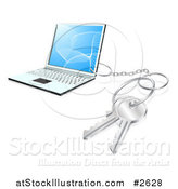 Vector Illustration of a 3d Key Ring Attached to a Laptop Computer by AtStockIllustration