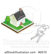Vector Illustration of a 3d Key Ring Attached to a Property with a House by AtStockIllustration
