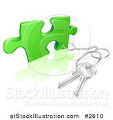 Vector Illustration of a 3d Key Ring Attached to a Puzzle Piece by AtStockIllustration