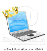 Vector Illustration of a 3d Kings Crown on a Laptop by AtStockIllustration