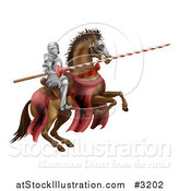 Vector Illustration of a 3d Knight Holding a Jousting Lance on a Rearing Horse by AtStockIllustration