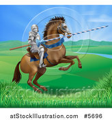 Vector Illustration of a 3d Knight Holding a Jousting Lance on a Rearing Horse in a Valley by AtStockIllustration