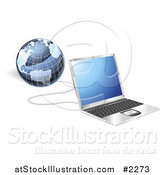 Vector Illustration of a 3d Laptop and Globe Connected by AtStockIllustration