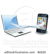 Vector Illustration of a 3d Laptop and Smart Phone Connecting on a Wifi Network by AtStockIllustration