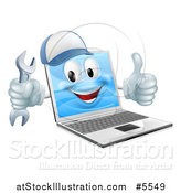 Vector Illustration of a 3d Laptop Computer Repair Character Holding a Wrench and Thumb up by AtStockIllustration
