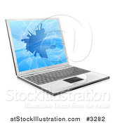 Vector Illustration of a 3d Laptop Computer with a Shattered Screen by AtStockIllustration