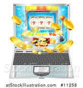 Vector Illustration of a 3d Laptop Computer with a Slot Machine and Coins Flying out from the Screen by AtStockIllustration