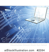 Vector Illustration of a 3d Laptop Streaming Music on Blue by AtStockIllustration