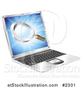 Vector Illustration of a 3d Laptop with a Magnifying Glass on the Screen by AtStockIllustration