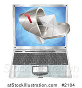Vector Illustration of a 3d Letter in a Mailbox over a Laptop by AtStockIllustration