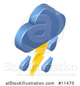 Vector Illustration of a 3d Lightning Cloud Storm Weather Icon by AtStockIllustration