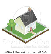 Vector Illustration of a 3d Little House and Fenced Property by AtStockIllustration