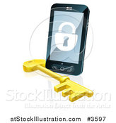 Vector Illustration of a 3d Locked Cell Phone with a Skeleton Key by AtStockIllustration