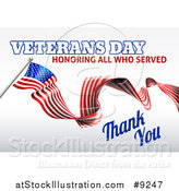 Vector Illustration of a 3d Long Rippling American Flag with Veterans Day Honoring All Who Served Thank You Text on Gray by AtStockIllustration