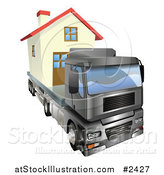 Vector Illustration of a 3d Lorry Truck Moving a Home by AtStockIllustration