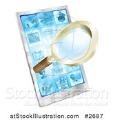 Vector Illustration of a 3d Magnifying Glass and Light over a Smart Phone by AtStockIllustration