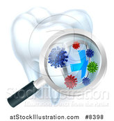 Vector Illustration of a 3d Magnifying Glass Discovering a Shield and Germs or Bacteria on a Tooth by AtStockIllustration