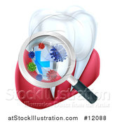 Vector Illustration of a 3d Magnifying Glass Discovering Germs or Bacteria on a Tooth and Gums by AtStockIllustration