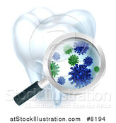 Vector Illustration of a 3d Magnifying Glass Discovering Germs or Bacteria on a Tooth by AtStockIllustration