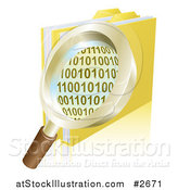 Vector Illustration of a 3d Magnifying Glass over Binary Coding and Data Folders by AtStockIllustration