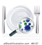 Vector Illustration of a 3d Magnifying Glass Revealing Germs and Bacteria on a Plate and Silverware by AtStockIllustration