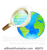 Vector Illustration of a 3d Magnifying Glass Searching Globe Binary Coding by AtStockIllustration