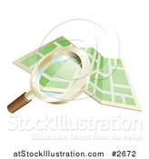 Vector Illustration of a 3d Magnifying Glass Searching over a Gps Map by AtStockIllustration
