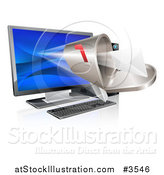 Vector Illustration of a 3d Mailbox Emerging from a Desktop Computer by AtStockIllustration