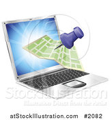 Vector Illustration of a 3d Map and Pin on a Laptop Screen by AtStockIllustration