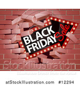 Vector Illustration of a 3d Marquee Arrow Sign with Black Friday Sale Text Breaking Through a Brick Wall by AtStockIllustration