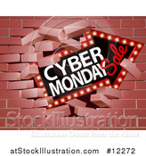Vector Illustration of a 3d Marquee Arrow Sign with Cyber Monday Sale Text Breaking Through a Brick Wall by AtStockIllustration