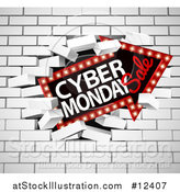 Vector Illustration of a 3d Marquee Arrow Sign with Cyber Monday Sale Text Breaking Through a White Brick Wall by AtStockIllustration