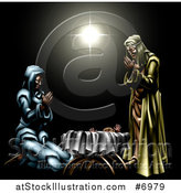 Vector Illustration of a 3d Mary and Joseph Praying over Baby Jesus Under the Star of Bethlehem by AtStockIllustration