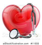 Vector Illustration of a 3d Medical Stethoscope Around a Red Love Heart by AtStockIllustration