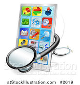 Vector Illustration of a 3d Medical Stethoscope Around a Touch Screen Smart Cell Phone by AtStockIllustration