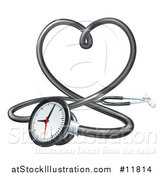 Vector Illustration of a 3d Medical Stethoscope Forming a Love Heart by AtStockIllustration