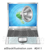 Vector Illustration of a 3d Megaphone over a Laptop Computer by AtStockIllustration