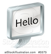 Vector Illustration of a 3d Metal Hello Chat Balloon by AtStockIllustration