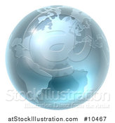 Vector Illustration of a 3d Metallic Blue or Silver Earth Globe by AtStockIllustration