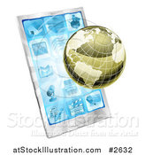 Vector Illustration of a 3d Metallic Globe and Rays over a Cell Phone by AtStockIllustration