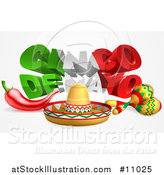 Vector Illustration of a 3d Mexican Flag Colored Cinco De Mayo Text Design with a Sombrero, Chili Pepper and Maracas by AtStockIllustration