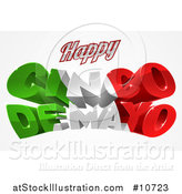 Vector Illustration of a 3d Mexican Flag Colored Happy Cinco De Mayo Design by AtStockIllustration