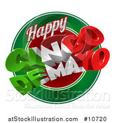 Vector Illustration of a 3d Mexican Flag Colored Happy Cinco De Mayo Text Design over a Circle by AtStockIllustration
