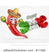 Vector Illustration of a 3d Mexican Flag Colored Happy Cinco De Mayo Text Design with a Chile Pepper Mascot Holding Maracas by AtStockIllustration